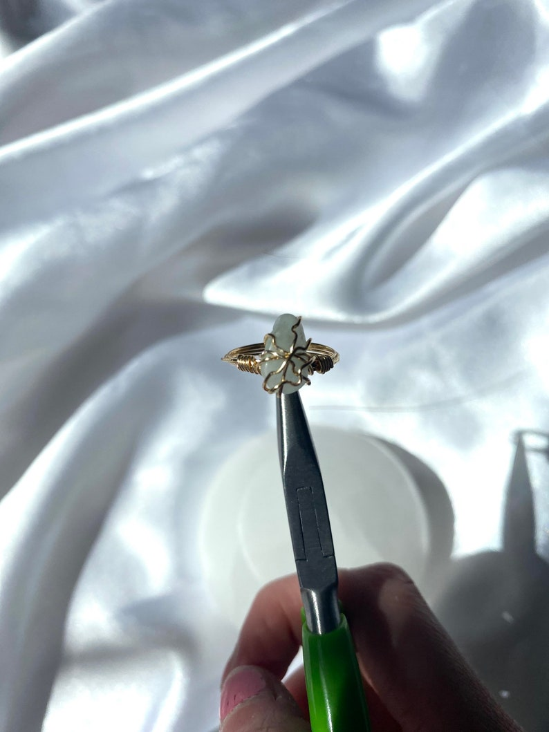 natural aquamarine wire wrapped ring