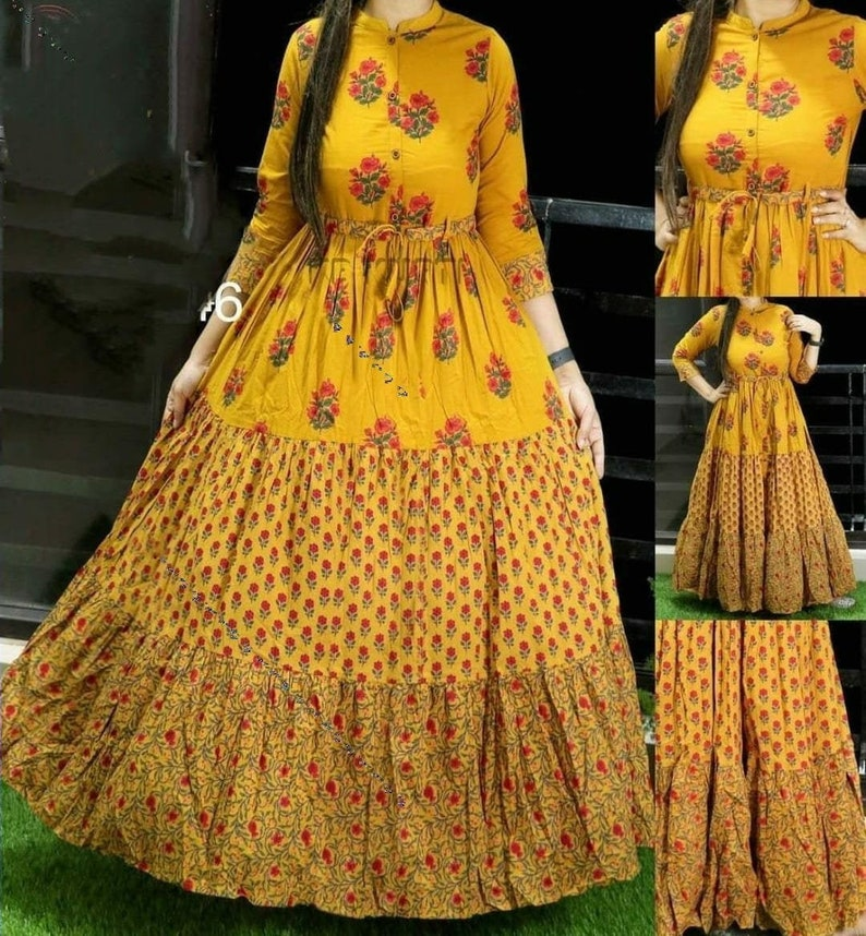 Exclusive Beautiful Digital Printed Cotton Fabric with Digital Print /& 55 inch Length Decent look Women or Girls In L,XL or XXL Size