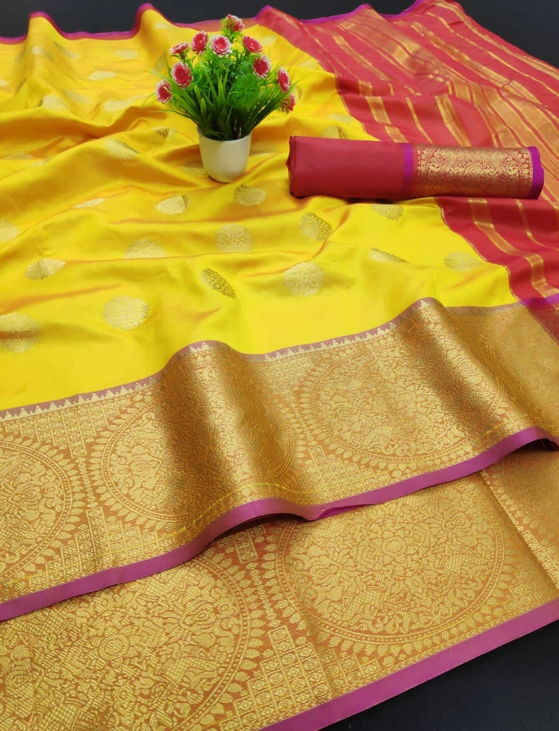 Soft Weaving Silk Beautiful Rich Pallu,Jacquard Work all Over the Saree,Indian Traditional Wear Saree With Exclusive Unstitched Blouse