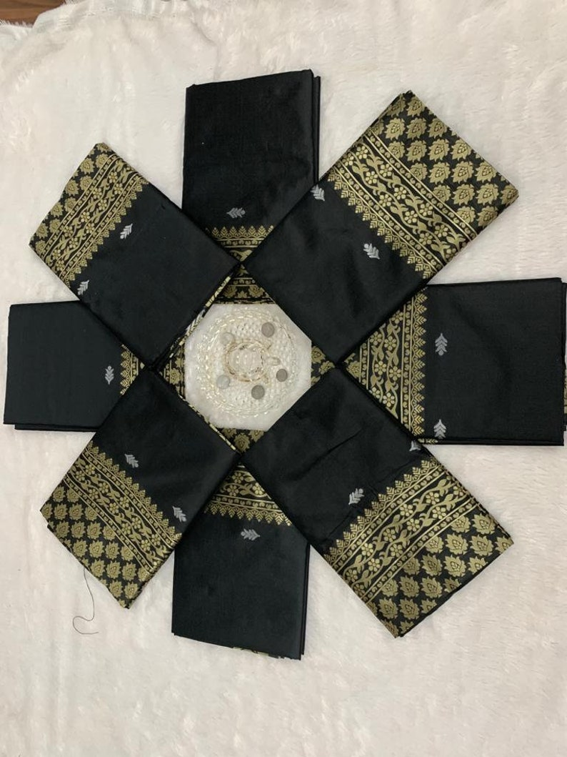 Silk Fabric Black Color With Beautiful Rich Pallu /& Jacquard Work all Over the Saree With Woven Fabric Unstitched Blouse wedding gift saree
