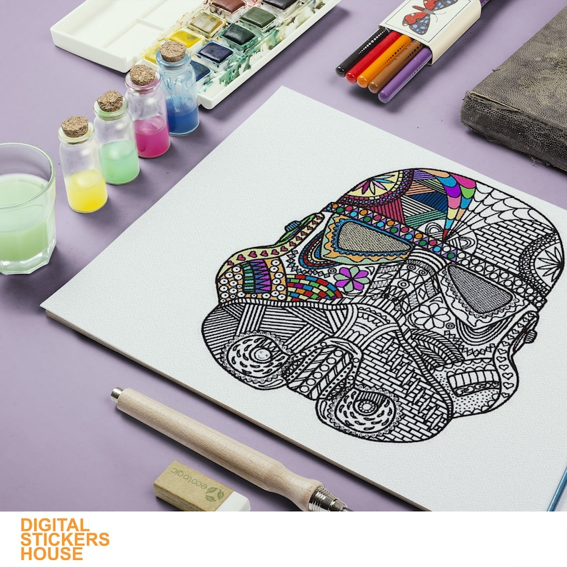 Clip Art Star Wars Mandala Helmet Printable Coloring Page PDF And JPG 20 Coloring  Pages For Kids At Home Art & Collectibles
