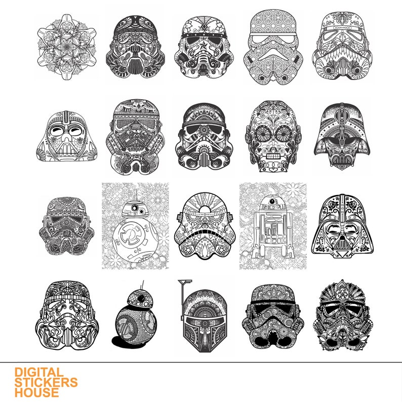 Clip Art Art & Collectibles 20 Coloring Pages For Kids At Home PDF And JPG Star  Wars Mandala Helmet Printable Coloring Page