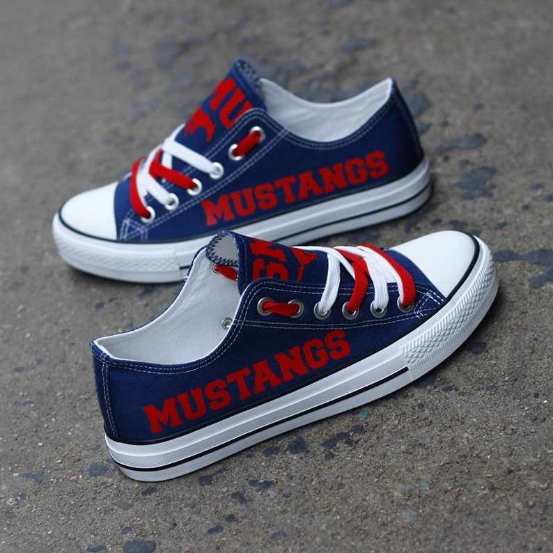 Best Gifts For College Football Fans Collegiate Football Team Sneakers SMU Mustangs Low Top Shoes NCAA Teams Shoes