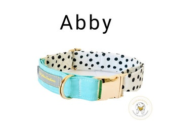 Dog Collar Spotty and Teal | Spring fashion Collar | Gold Metal Hardware | Puppy dog collar| Dog lover gift | fabric collar| Pet accessories