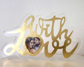With Love - acrylic picture frame / gift box deposited with gold leaf
