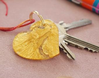 Gold heart keychain - gold leaf embedded in acrylic