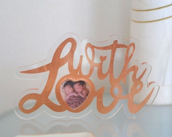 With Love - acrylic picture frame / gift box deposited with copper