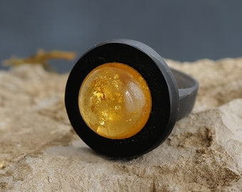 Golden Eye - Dome acrylic ring with 22k gold leaf in cast resin