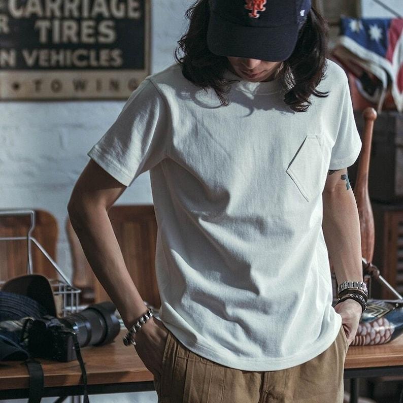 Mens Vintage Shirts – Casual, Dress, T-shirts, Polos     Read the full title    shi022 - BRONSON Tubular Pocket T-Shirt Heavyweight Short Sleeve Solid Color Tee Shirts  AT vintagedancer.com