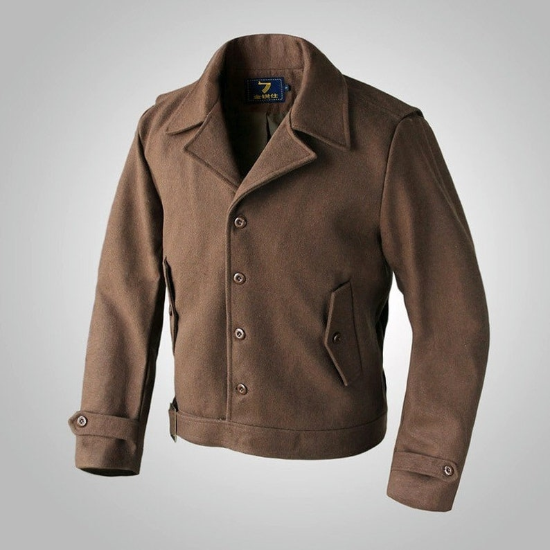 Men's Vintage Jackets & Coats Inglourious Basterds Aldo Raine Wool Jacket Men Spring US Army Short Coat Brown $139.90 AT vintagedancer.com