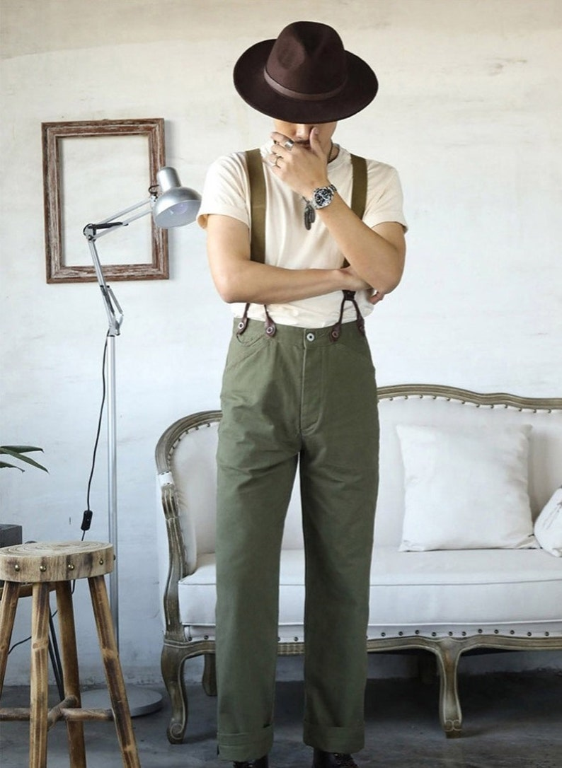 1940s Trousers, Mens Wide Leg Pants RED TORNADO Retro Chino Straight Cut Men Pants High Rise Vintage Straight Leg Trousers with Suspender Buttons $150.90 AT vintagedancer.com