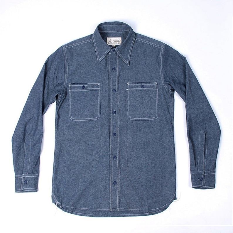 1940s Men's Shirts, Sweaters, Vests     Read the full title    shi010 - WW2 Reproduction US Navy Work Shirt Vintage Denim Chambray Mens Fatigue Utility  AT vintagedancer.com