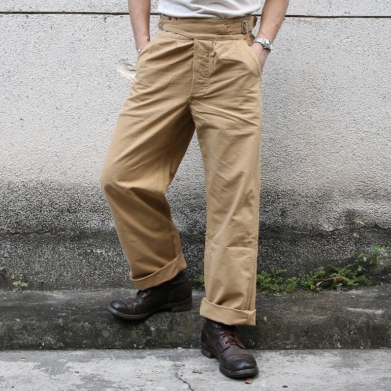 1940s Men's Clothing NON STOCK Gurkha Pants Vintage UK Army Military Trouser For Men Khaki Olive $101.90 AT vintagedancer.com