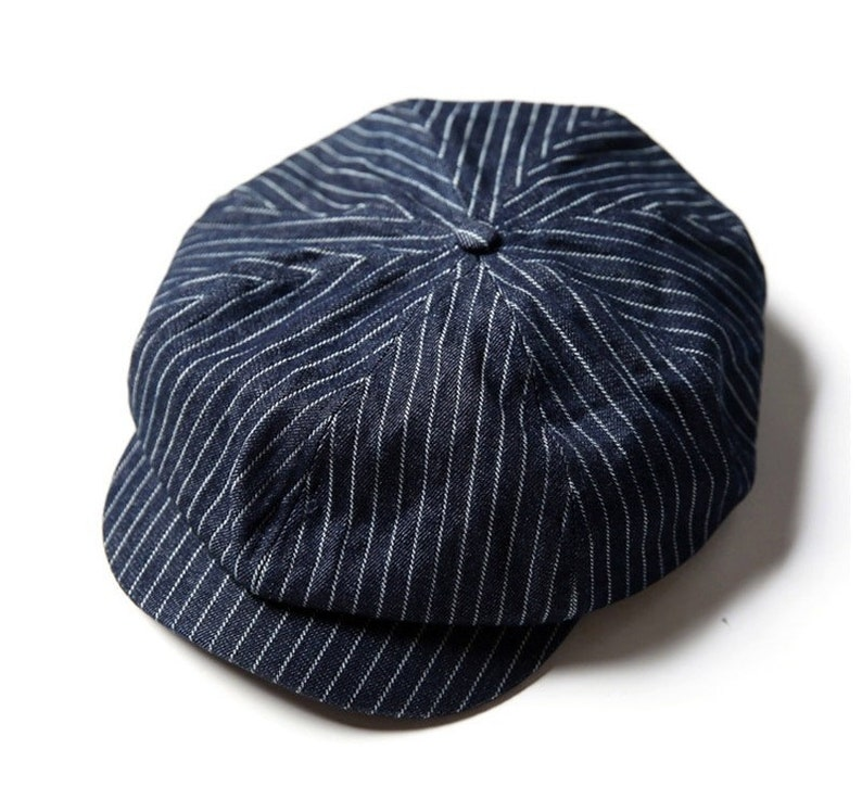 New Edwardian Style Men's Hats 1900-1920 NON STOCK Striped Denim Blue Newsboy Hat Vintage Peaky Blinders Baker Boy Cap For Men $54.90 AT vintagedancer.com