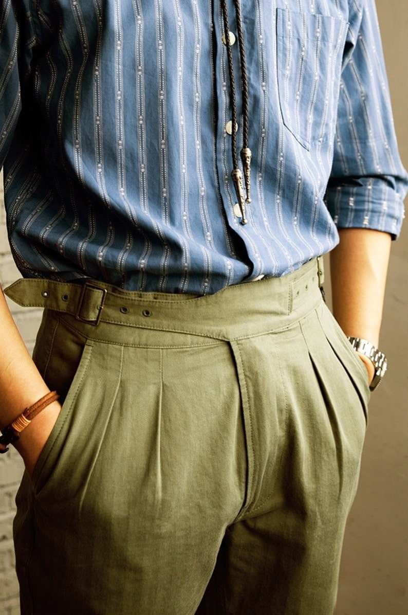 1940s Trousers, Mens Wide Leg Pants RED TORNADO Vintage Style British Gurkha Pants Pleated Men Smart Casual Trousers - Regular / Slim Fit $142.90 AT vintagedancer.com