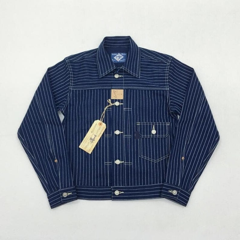 1900s Edwardian Men's Suits and Coats     Read the full title    djac005 - BOB DONG Wabash Indigo Stripes 506XX 1st Denim Jacket Mens Selvedge Jean Workwear  AT vintagedancer.com