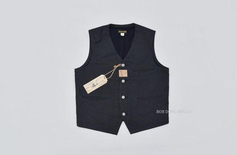 1920s Men's Workwear, Casual Clothes     Read the full title    jac015 - BOB DONG Vintage Striped Work Vest Mens Retro Suit Waistcoat Cotton Buckle Back $131.90 AT vintagedancer.com