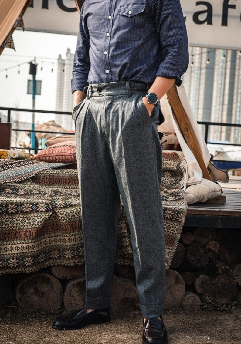 1940s Trousers, Mens Wide Leg Pants RED TORNADO British Woolen Gurkha Formal Pants Retro Mens Casual Trousers Gray $141.90 AT vintagedancer.com