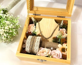 rustic accesories storage dried flower ivory wooden personalized jewelry gift box jewelry set gift box for women bridesmaid party set box