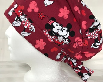 Mickey Mouse scrub cap with buttons to hold mask  unisex scrub cap  bouffant for long hair  mens surgical hat  nurse scrub cap