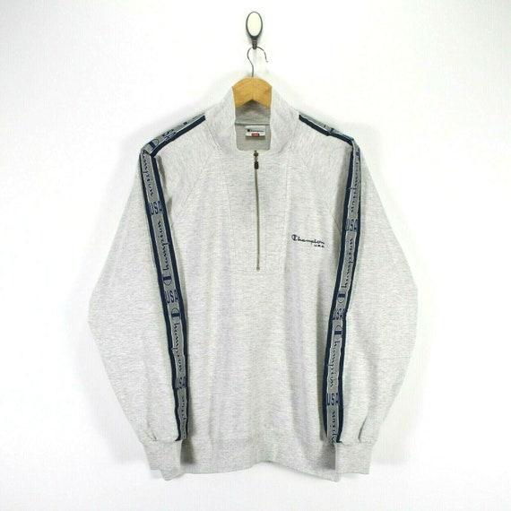 Vintage Champion Men's Sweater in Grey Size L Zip-
