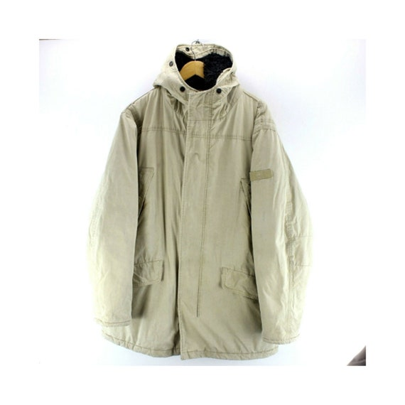 Vintage Timberland Men's Coat Size XL Beige Hooded