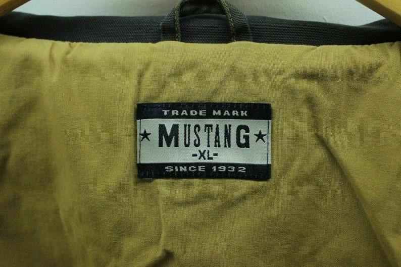 Vintage Mustang Denim Jacket in Dark Grey Size XL Full Zip Jacket AB417