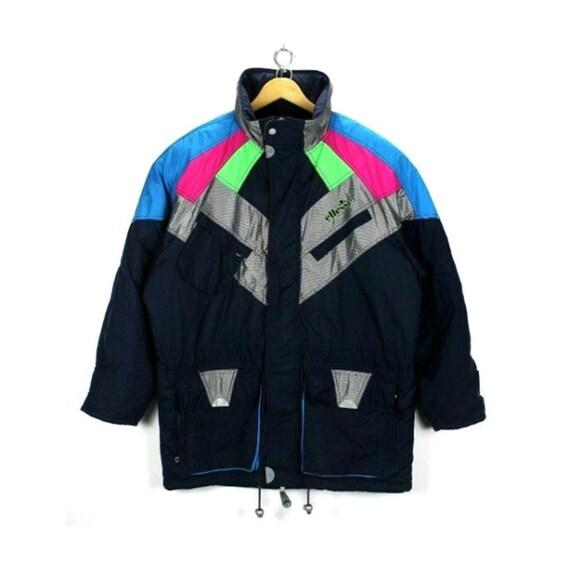Vintage Men's Ellesse Ski Jacket Size L Multi-Colo