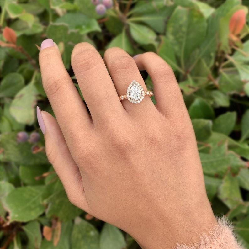 Pear Cut 2.00CT Hidden Halo Moissanite Engagement Ring 14k image 0