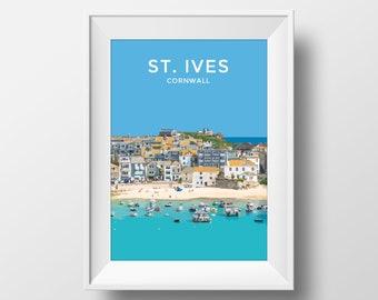 St Ives   Cornwall   Art Print   Travel Poster   Gift   Nautical   Seaside   Coastal Illustration   Gift   Wall Art   Wedding   Birthday