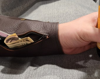 Hand made bracelet leather cuff wallet