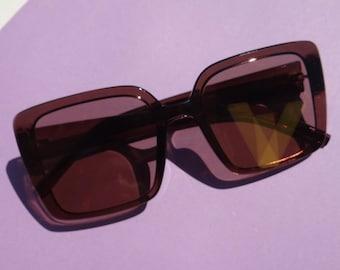 Adonis Square Frame Sunnies - Brown Sunglasses - Loft the Label