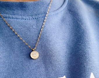 Gold and Enamel Smiley Face pendant necklace - Loft the Label