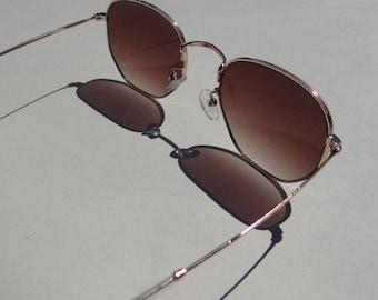 Daphne Metal Frame Sunnies - Round Brown Sunglasses - Loft the Label