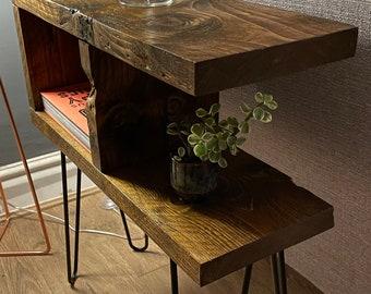 Reclaimed wood armchair side table/display table