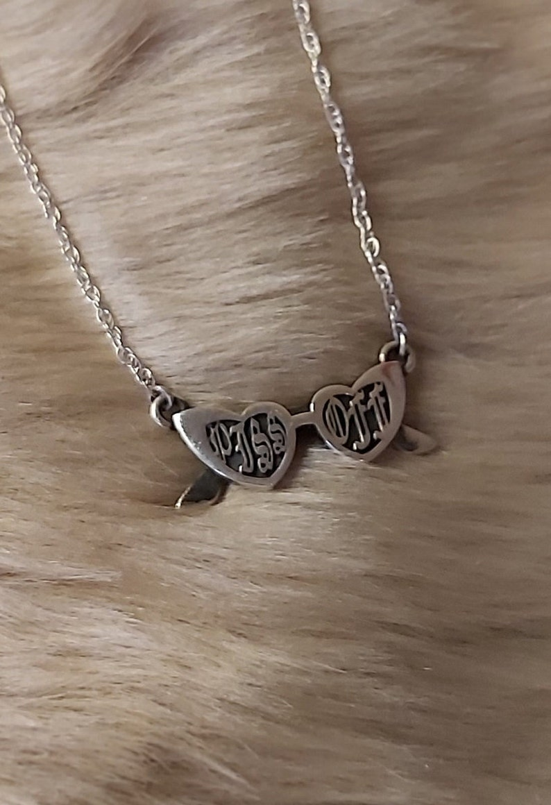 Piss Off Heart Shaped Glasses Necklace Hallmarked Sterling Silver Gothic Text