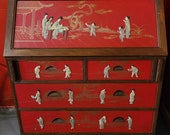 Vintage Red Chinoiserie Drop Front Secretary Desk