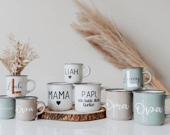Cup personalized | Enamel look | 300ml coffee cup | 125ml espresso cup | Cup with name | Cup ceramic | Gift idea | birthday