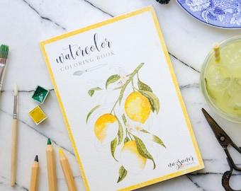 Watercolor Coloring Book   Fruits Handmade Illustration