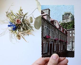 A Windy Day in Quebec City - Original Artwork - Hand Embroidered Vintage Found Postcard
