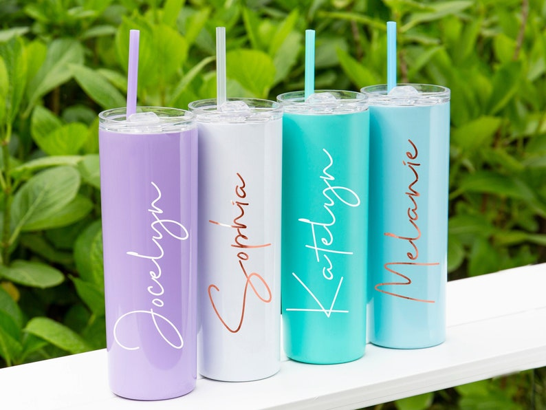 Tumbler with StrawPersonalized tumblerStainlessSteel cup image 0
