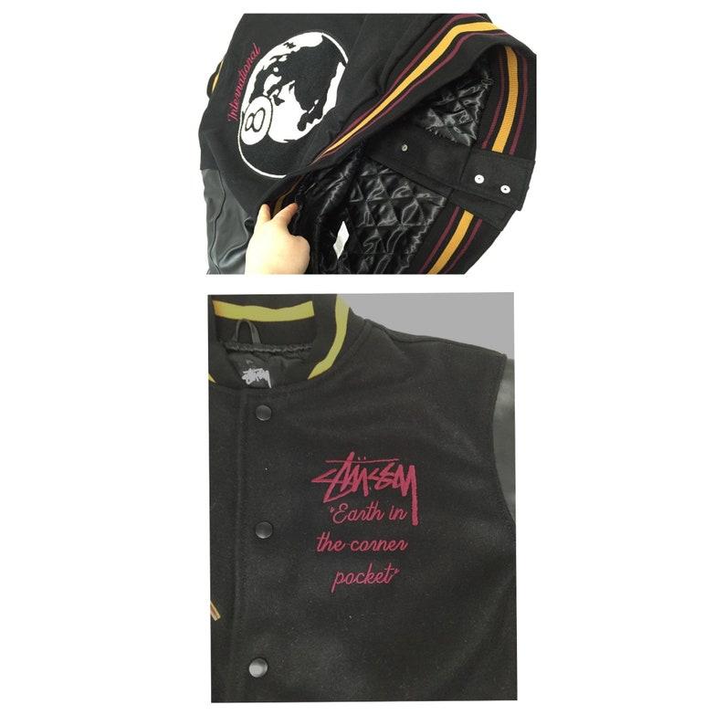 Vintage Style Handmade Custom Varsity Jacket Cotton /& Leather Bomber Stussy Skate Inspired Sports
