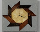 small Square wooden wall clock, wooden clock for wall, wall clocks large, wooden desk clock, unique clocks for wall, handmade wall clocks