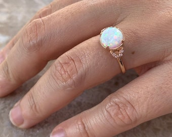 Opal Ring, White Opal Ring, Opal Stack Ring, 14k Solid Gold Ring, Dainty Opal Ring, Diamond and Opal Ring, Promise Ring, Minimal Ring