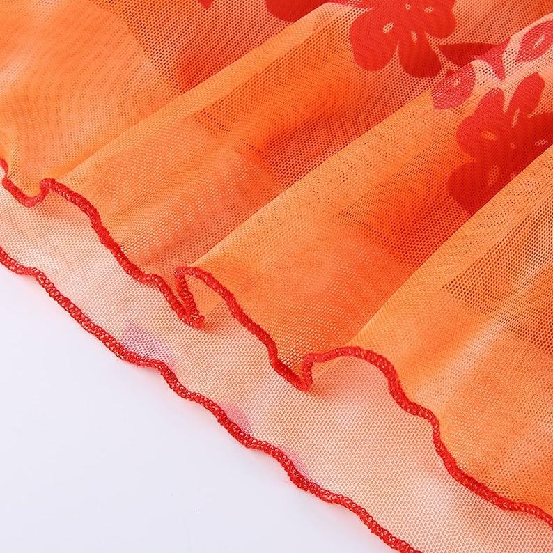 Summer Streetwear Ravewear y2k Free Shipping Floral Print High Waisted Tie Dye Midi Skirt