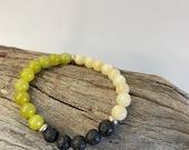 Natural Stone Diffuser Bracelet Peridot, Pineapple Jasper and Lava
