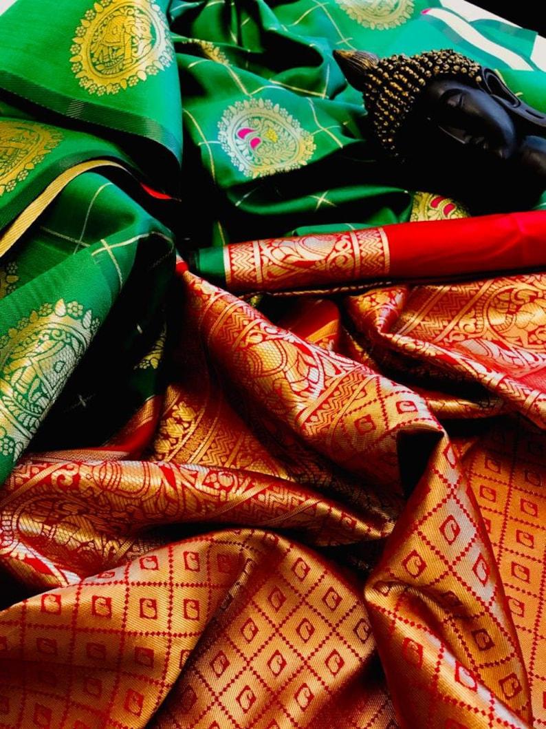 pure kanjivaram saree for weeding wear soft silk saree with red color blouse piece saree..