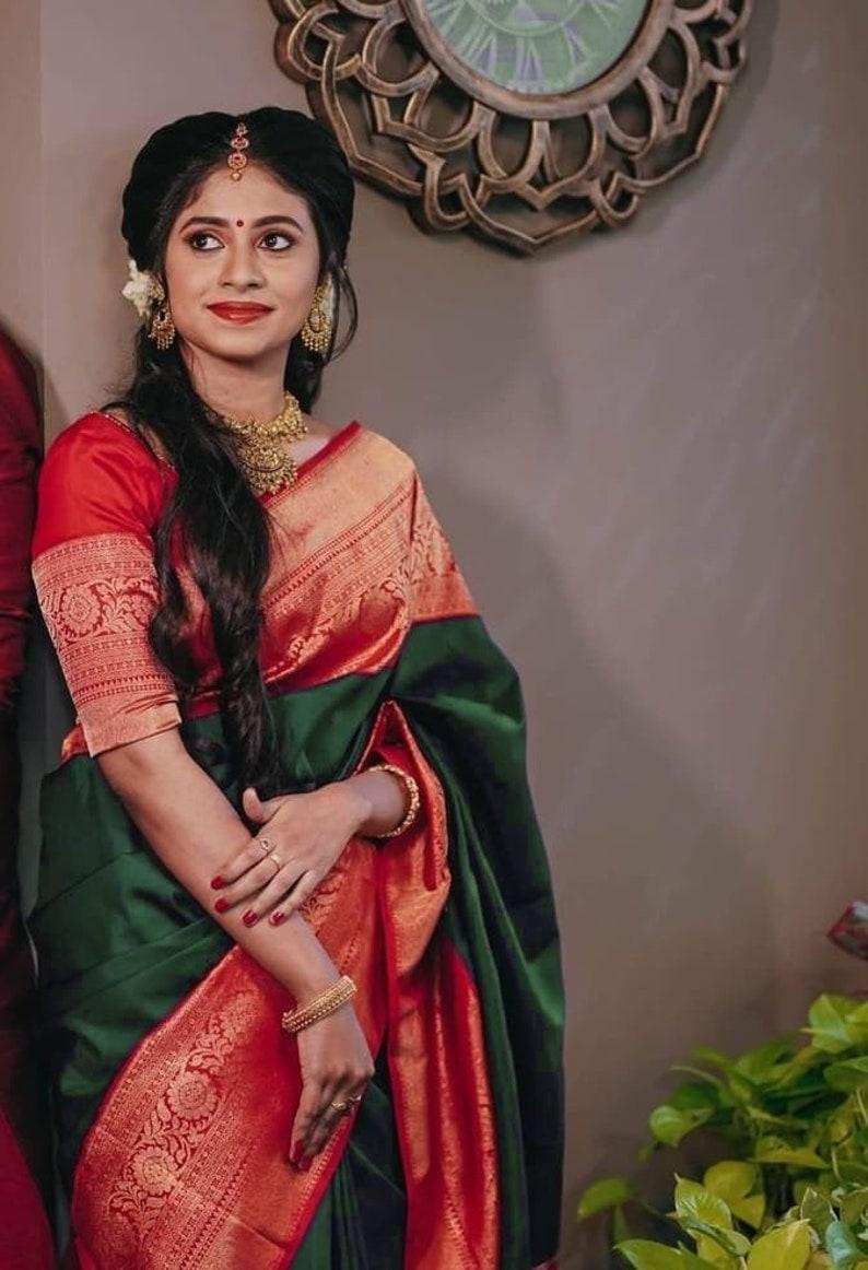 gree color saree flowear designer saree for weeding wear saree with red color  blouse piece saree..
