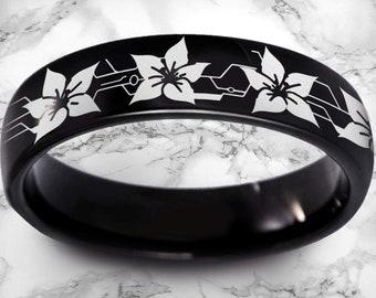 Nier Automata Black Diamond Wedding Ring Black Nier Ring Mens Black Diamond Anime Ring Android 2b Tungsten Ring Beveled Titanium Ring