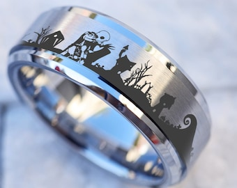 Jack Skellington Wedding Ring Box Jack and Sally Proposal Box Halloweentown Engagement Ring Bearer We/'re Simply Meant To Be Jewelry Box